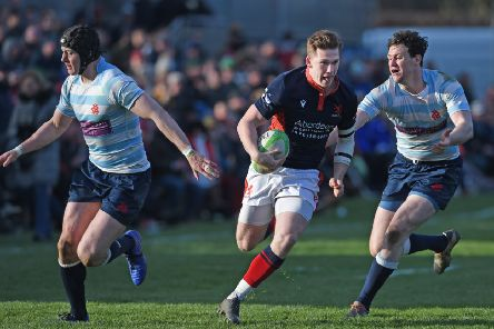 London Scottish's 'Fergus Guiry makes a break against Edinburgh Accies in the Melrose final. Picture:'' Neil Hanna