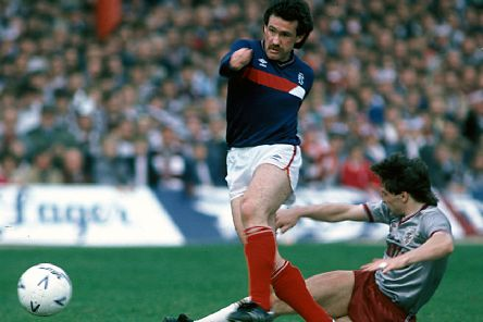 Albert Kidd in action against Hearts on the final day of the 1985/86 season. Picture: SNS Group