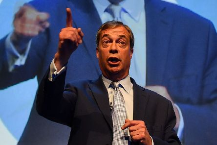 British politician and Brexit Party leader Nigel Farage addresses the first public rally of their European Parliament election campaign in Birmingham. Picture: Daniel Leal-Olivas/Getty Images