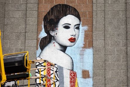 UK street artist Hush has transformed the Aberdeen branch of John Lewis with his signature style. PIC: Louise Kendal/Contributed.