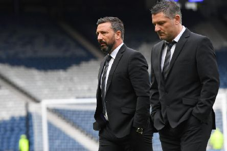 Derek McInnes, left, with No.2 Tony Docherty. The pair have both been charged by the SFA