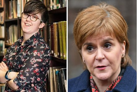 Nicola Sturgeon paid tribute to Lyra McKee (left) in a tweet. Pictures: AFP/PA