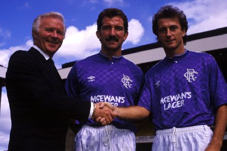 Trevor Francis is welcomed to Rangers by Ibrox by chairman David Holmes and player/manager Graeme Souness. Picture: Gareth R Reid