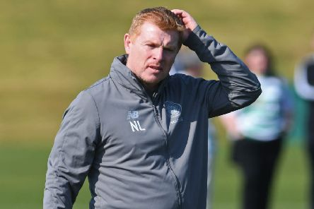 Celtic manager Neil Lennon oversees training at Lennoxtown ahead of the weekend fixture with Hibs. Picture: Craig Foy/SNS
