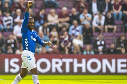 Jermain Defoe celebrates after scoring to give Rangers the lead. Pic: SNS/Craig Williamson