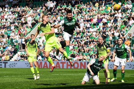 Jozo Simunovic attempts a late header during Hibs 0-0 draw with Celtic. Picture: SNS