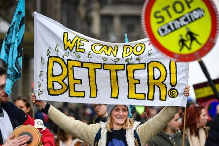 Extinction Rebellion protesters staged a rally on Edinburgh's North Bridge (Picture: Jeff J Mitchell/Getty Images)