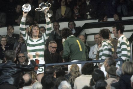 Captain Billy McNeill lifts the Scottish Cup in 1975 after his last match for Celtic. Picture: SNS