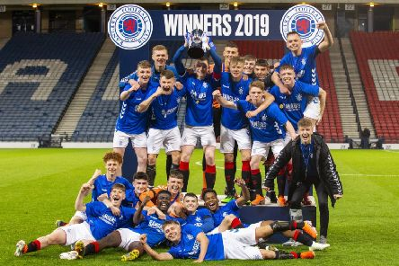 The Rangers U18 players celebrate their win in the Scottish Youth Cup Final at Hampden Park. Picture: Bruce White/SNS
