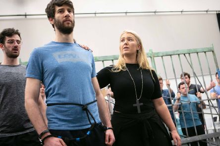 Students from the Royal Conservatoire of Scotland in rehearsal for the UK staged premiere of Dead Man Walking. From left: Rhys Thomas who plays a prison guard, Mark Nathan who plays death row prisoner Joseph De Rocher and Carolyn Holt who plays Sister Helen Prejean. PIC: Royal Conservatoire of Scotland/Robbie McFadzean.
