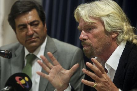Joao Goulao with Sir Richard Branson, member of the Global Commission on Drug Policy, speaking at a conference in Lisbon. Picture: Miguel A Lopes/Rex/Shutterstock