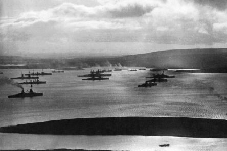 The German fleet anchored at Scapa Flow.