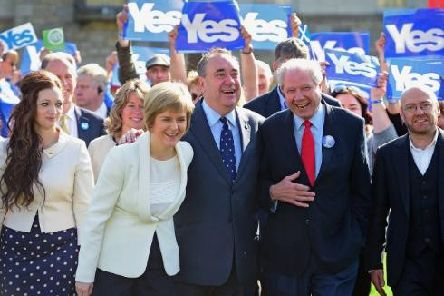 Former SNP deputy leader Jim Sillars campaigning with Nicola Sturgeon