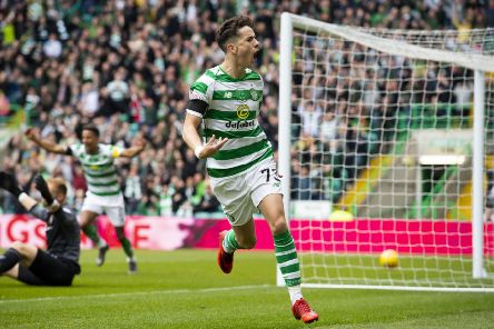 Celtic's Mikey Johnston celebrates his opening goal. Pic: SNS/Alan Harvey