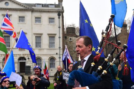 Alastair Campbell says playing the pipes has helped him deal with his depression. PIC: PA Wire/Victoria Jones.