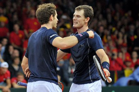 Andy and Jamie Murray playing together during the 2015 Davis Cup. Picture: Jane Barlow