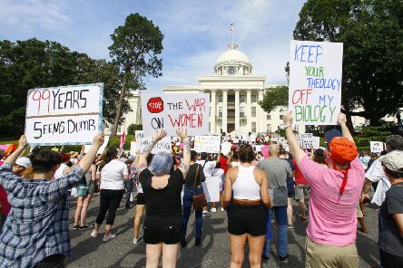 The demonstration in Montgomery came days after governor Kay Ivey signed the most stringent abortion law in America. Picture: AP