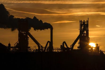 The sun rises behind the British Steel's Scunthorpe plant. Picture: Getty Images