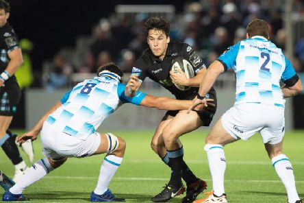 Sam Johnson in action for Glasgow Warriors as the Scotstoun side do battle with Leinster in a PRO14 clash