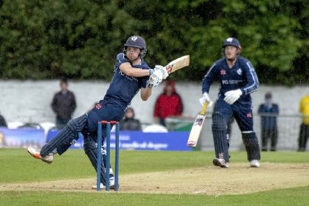 Scotland's Matthew Cross, batting with George Munsey, brought up his second ODI 50. Picture: Donald MacLeod/Cricket Scotland