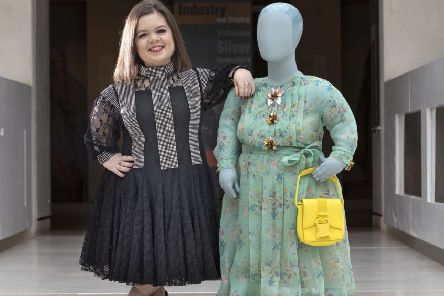Academic and writer Sinead Burke, from Dublin, models a dress by designer Christopher Kane. Picture: Jane Barlow/PA Wire