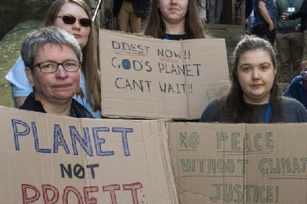 General Assembly of the Church of Scotland: Youth representatives and their supporters held a silent protest against the rejection of a call for the church Investors Trust to divest from oil and gas companies by the end of 2020