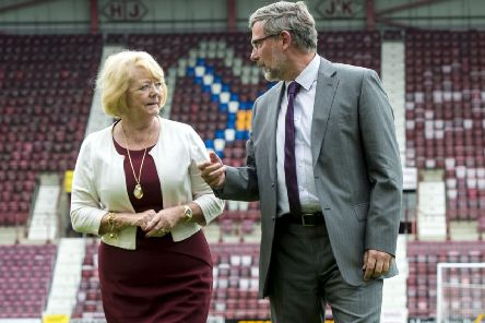 Craig Levein with Hearts owner Ann Budge. Picture: SNS