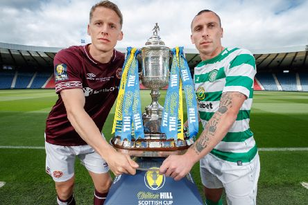 Cup final captains, Christophe Berra of Hearts and Scott Brown of Celtic. Picture: Steve Welsh