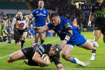 Glasgow Warriors' Grant Stewart goes over to score a try at Celtic Park. Pic: SNS/SRU/Gary Hutchison