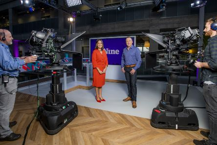 On the set of news flagship The Nine. Picture: Alan Peebles/BBC