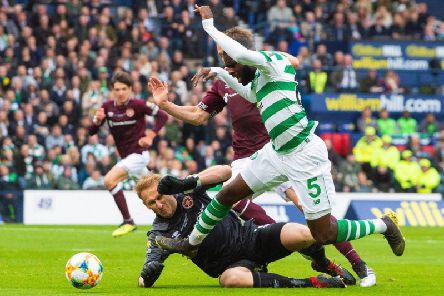 Odsonne Edouard wins a penalty for Celtic during the Scottish Cup final.