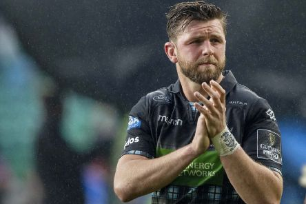 Glasgow Warriors' Ryan Wilson applauds the fans at full-time. Picture: SNS