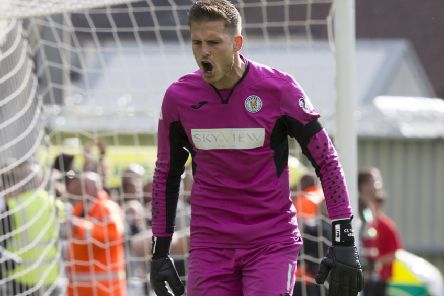St Mirren keeper Vaclav Hladky celebrates during the penalty shoot-out. Picture: Jeff Holmes/PA Wire