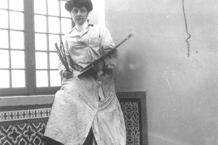 Mary Cameron in her studio in the 1880s.
