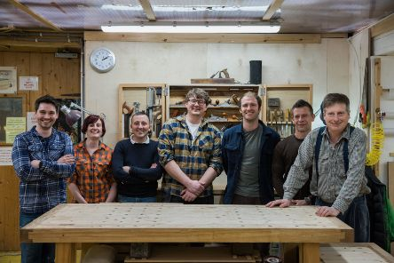 From left: members of the Chippendale International School of Furniture team Matty Brebner, Clare Charleston, Graham Davies, Adam Stone, Tom Fraser (deputy principal), Alan McGovern and Anselm Fraser (founder)