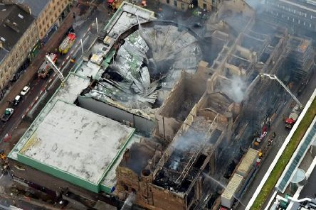 The world-renowned building, designed by Charles Rennie Mackintosh, was extensively damaged when a fire broke out late on 15 June last year. Picture: SWNS