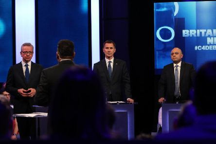 The Tory leadership contestants during the TV debate.