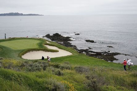 The short and stunning seventh at Pebble Beach comes before a testing stretch of holes on the California coast. Picture: AP.