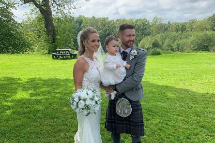 The new Mr. and Mrs - aka Rachael Small of Hibernian Ladies and Martin Boyle of Hibernian FC.