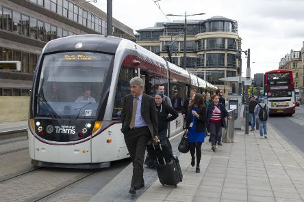 Passengers disembark an eastbound tram at Haymarket. 'Picture: Ian Rutherford