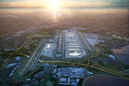 A computer generated image released by Heathrow airport on June 18, 2019 shows what the airport will look like in 2050. Picture: AFP/Getty Images