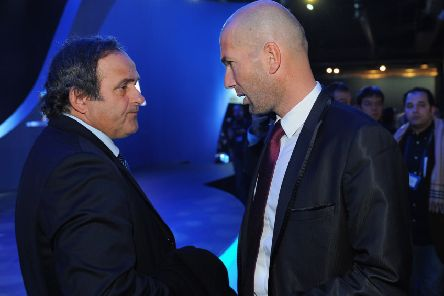 Michel Platini with fellow France legend Zinedine Zidane (Photo by Michael Regan/Getty Images)