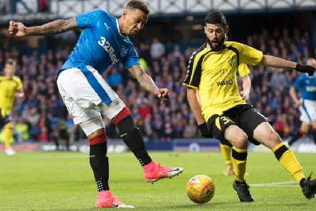James Tavernier in action as Rangers faced off against Progres Niederkorn two years ago.