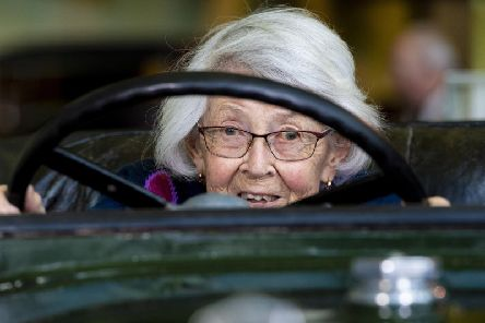 Dorothe Pullinger's daughter Yvette Le Couvey, 93, behind the wheel of the engineer's 1924 Galloway coupe. Picture: Craig Williamson/SNS