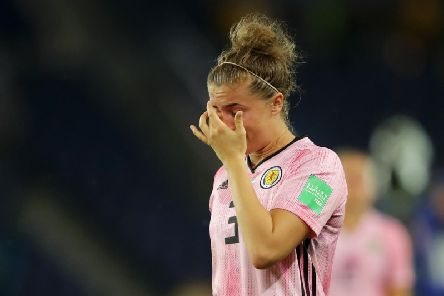 A dejected Nicola Docherty at full-time after Scotland's 3-3 draw with Argentina.