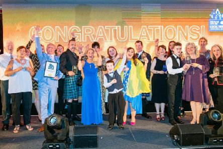 The winners show off their awards. Picture: Ian Georgeson