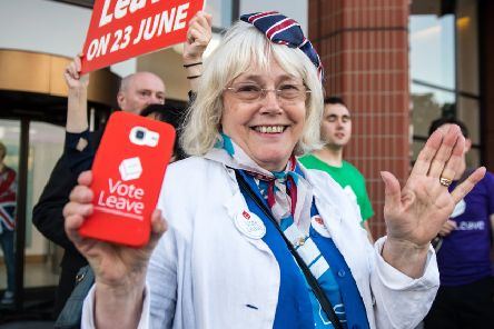 Vote Leave supporters celebrate the result of the referendum. Picture: Getty