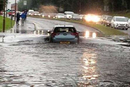 Deep floodwater at South Gyle today.