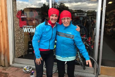 Mavis Paterson, 81, right, demonstrated age is no barrier for feats of endurance when she became the oldest person to cycle the length of Britain, from Land's End to John O'Groats, after pedalling 960 miles in 23 days. (Picture: SWNS)