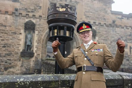 Handover of the position of Governor of Edinburgh Castle. Photocall as the position is handed from Maj Gen Mike Riddell-Webster to Maj Gen Alastair Bruce of Crionaich, pictured. Mills Mount Battery, Edinburgh Castle.